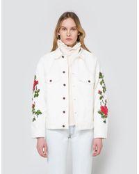 019f697bb2b9 Lyst - Off-White c o Virgil Abloh Rose Embroidered Denim Jacket in White