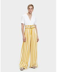 Maison Margiela - Yellow Striped Pleated Pant - Lyst