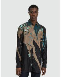 Dries Van Noten - Black Printed Satin Button Up Shirt for Men - Lyst