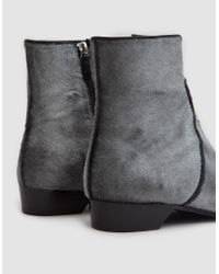 Alumnae - Gray Pointy Ankle Zip Bootie On Low Heel - Lyst