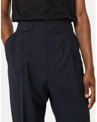 Lemaire - Two Pleated Pants In Blue Black for Men - Lyst