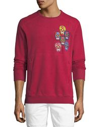 PRPS Red Skull-applique Fleece Sweatshirt for men