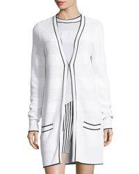 St. John White Pointelle-knit V-neck Long Cardigan