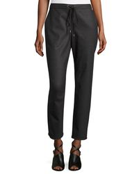 Eileen Fisher Gray Stretch-flannel Twill Slouch Pants