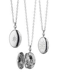 Monica Rich Kosann - Metallic Sterling Silver Starburst Locket Necklace With White Sapphires - Lyst