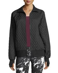 Norma Kamali Black Zip-front Quilted Bomber Jacket