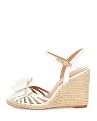 Kate Spade - White Biana Grosgrain Bow Wedge Sandal - Lyst