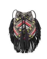 Rebecca Minkoff | Black Wonder Beaded Fringe Cross-body Bag | Lyst