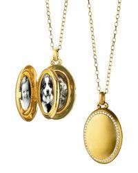 Monica Rich Kosann - Metallic 18k Gold Premier Satin-finish Locket Necklace With Diamonds - Lyst