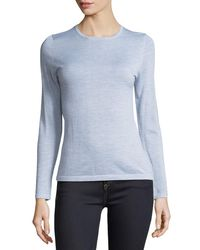 Neiman Marcus - Blue Modern Superfine Cashmere Crewneck Sweater - Lyst