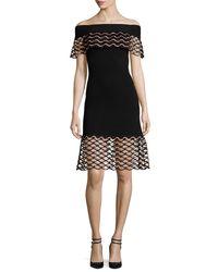 Lela Rose - Black Wave-lace Off-the-shoulder Dress - Lyst