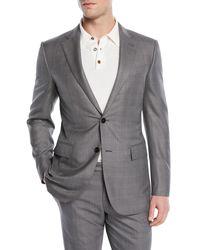 Ermenegildo Zegna Gray Light Plaid Wool-blend Two-piece Suit for men