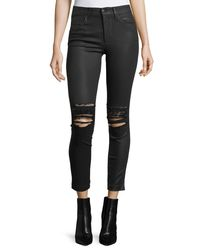 Joe's Jeans - Black The Charlie Ankle Coated Pants W/ Distressing - Lyst