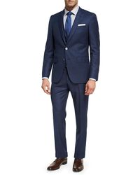 BOSS - Blue Box-check Wool 3-piece Suit for Men - Lyst