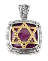 Konstantino - Metallic Men's Sterling Silver & 18k Gold Star Of David Pendant With Ruby Root - Lyst