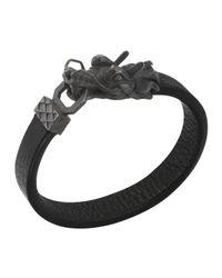 John Hardy | Black Naga Men's Dragon-head Leather Bracelet | Lyst