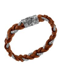 John Hardy | Brown Nm Exclusive Cognac Leather & Sterling Silver Bracelet for Men | Lyst