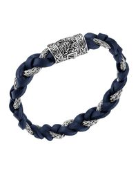 John Hardy - Dark Blue Leather & Sterling Silver Bracelet for Men - Lyst