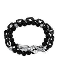 John Hardy | Metallic Naga Black Onyx Stainless Steel Double-wrap Link Bracelet | Lyst