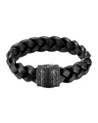 John Hardy | Mens Black Bronze Braided Leather Bracelet for Men | Lyst