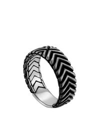 John Hardy - Metallic Men's Bedeg Triangle Line Pattern Band Ring - Lyst