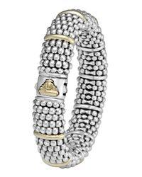 Lagos | Metallic Silver Caviar Oval Bracelet With 18k Gold | Lyst