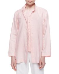 Go> By Go Silk | Pink Linen Button-front Jacket | Lyst