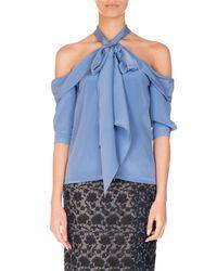 3f4b87e74e590 Lyst - Erdem Elin Silk Cold-shoulder Halter Top in Blue