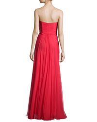 La Femme - Red Ruched Strapless Chiffon Gown - Lyst
