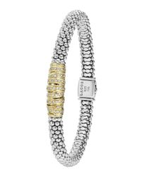 Lagos - Metallic Embrace Silver & 18k Diamond Caviar Bracelet - Lyst