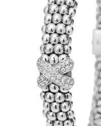 Lagos | Metallic Silver Caviar Bracelet With Diamond X | Lyst