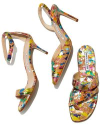 Manolo Blahnik - Multicolor Chaos Paint-Splatter Cork Sandal - Lyst