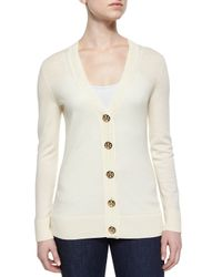 Tory Burch - White Simone Button-front Wool Cardigan - Lyst