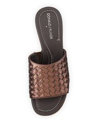 Donald J Pliner - Metallic Safari 3 Leather Wedge Sandals - Lyst