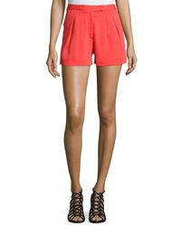 Nicole Miller - Pink Stretch Crepe Short Shorts - Lyst