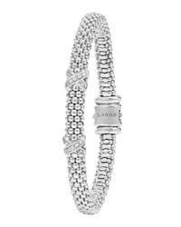 Lagos - Metallic Diamond Double-x Station Bracelet - Lyst