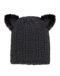 Eugenia Kim   Black Felix Fur-trim Cat-ear Skull Cap   Lyst
