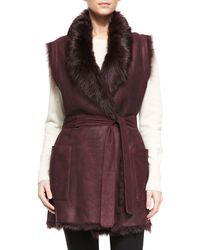 Vince | Black Shearling Fur Tie-waist Reversible Vest | Lyst