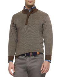 Peter Millar - Black Textured Quarter-zip Pullover Sweater for Men - Lyst