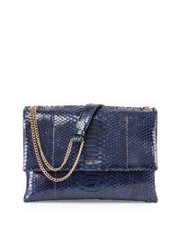 Lanvin - Blue Happy Python Medium Shoulder Bag - Lyst