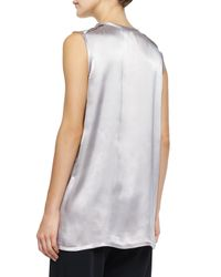 Vince - White Relaxed Satin Top - Lyst