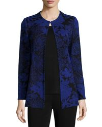 Misook - Blue Long-sleeve Floral-print Jacket - Lyst