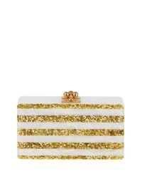 Edie Parker | Metallic Jean Confetti-striped Box Clutch Bag | Lyst