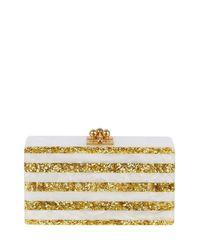 Edie Parker   White Jean Confetti-striped Box Clutch Bag   Lyst