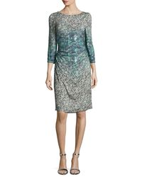 Kay Unger | Blue 3/4-sleeve Printed Sheath Dress | Lyst