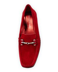 Donald J Pliner - Red Lianna Oiled-Suede Loafers - Lyst
