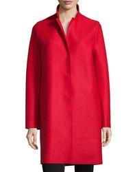 Harris Wharf London - Red Double-face Wool Hidden Placket Coat - Lyst