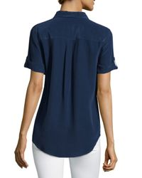Equipment - Blue Short-sleeve Slim Signature Top - Lyst