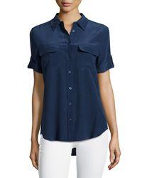 Equipment - Blue Short-sleeve Slim Signature Top - Lyst