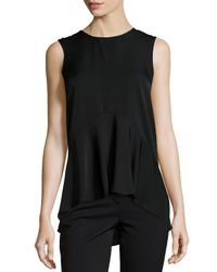 Theory | Black Laycee Arched-hem Silk Top | Lyst